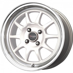 Alu kolo 16x7 Drag DR-16 White w/Machined Lip